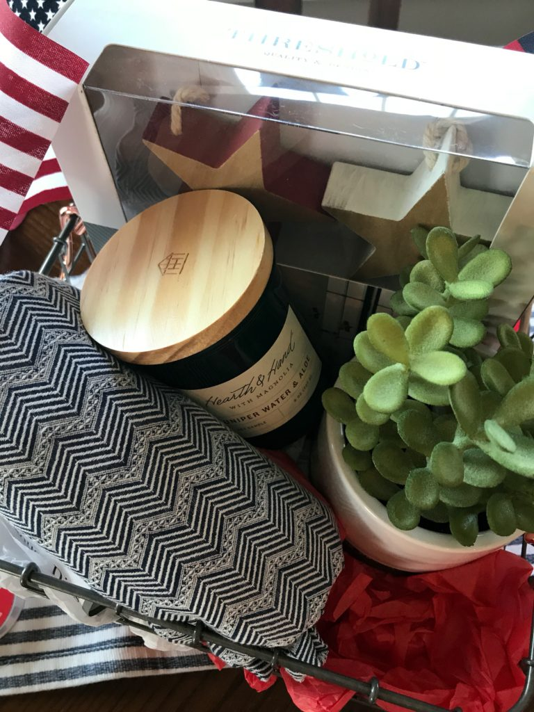 Putting together gift baskets for family and friends. How to make a useful gift everyone will love. Great for housewarming, new baby gifts, and birthdays.