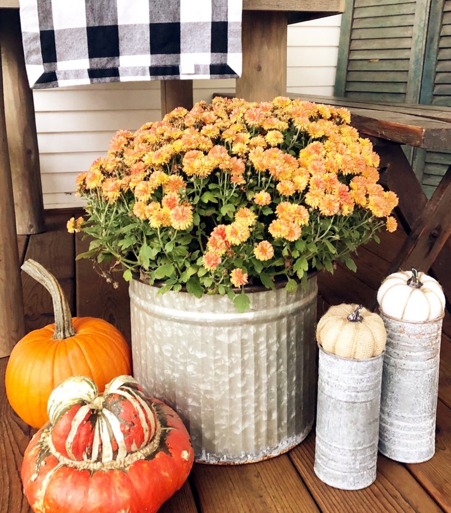 mums for fall porch decor