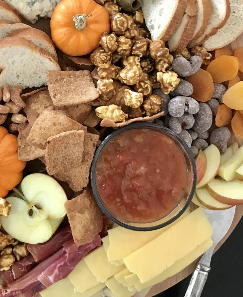 harvest snack platter, thanksgiving charcuterie with apple salsa