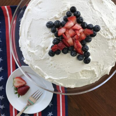 Red, White & Blue Jell-O Poke Cake