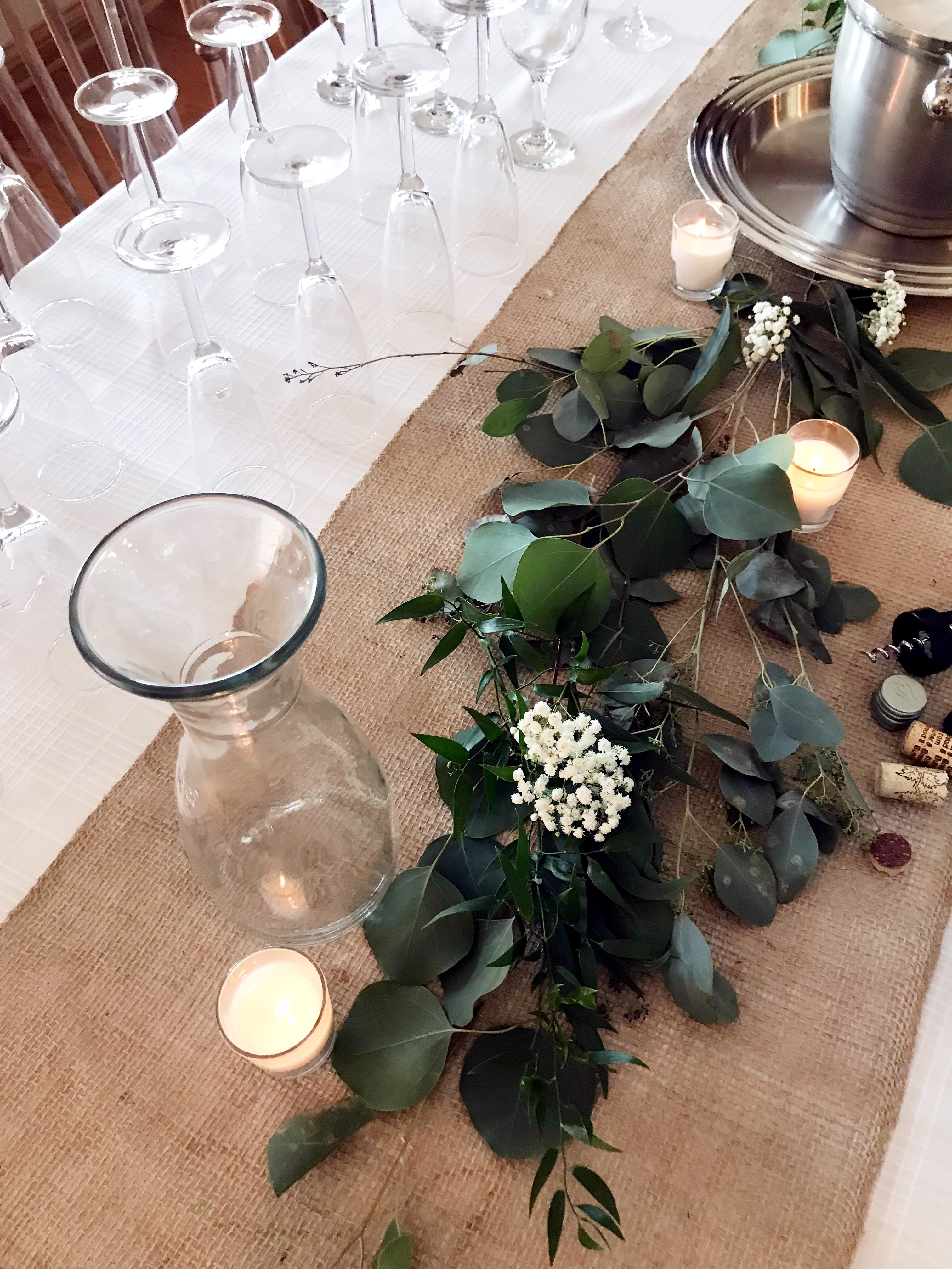 eucalyptus table decorations for bridal shower