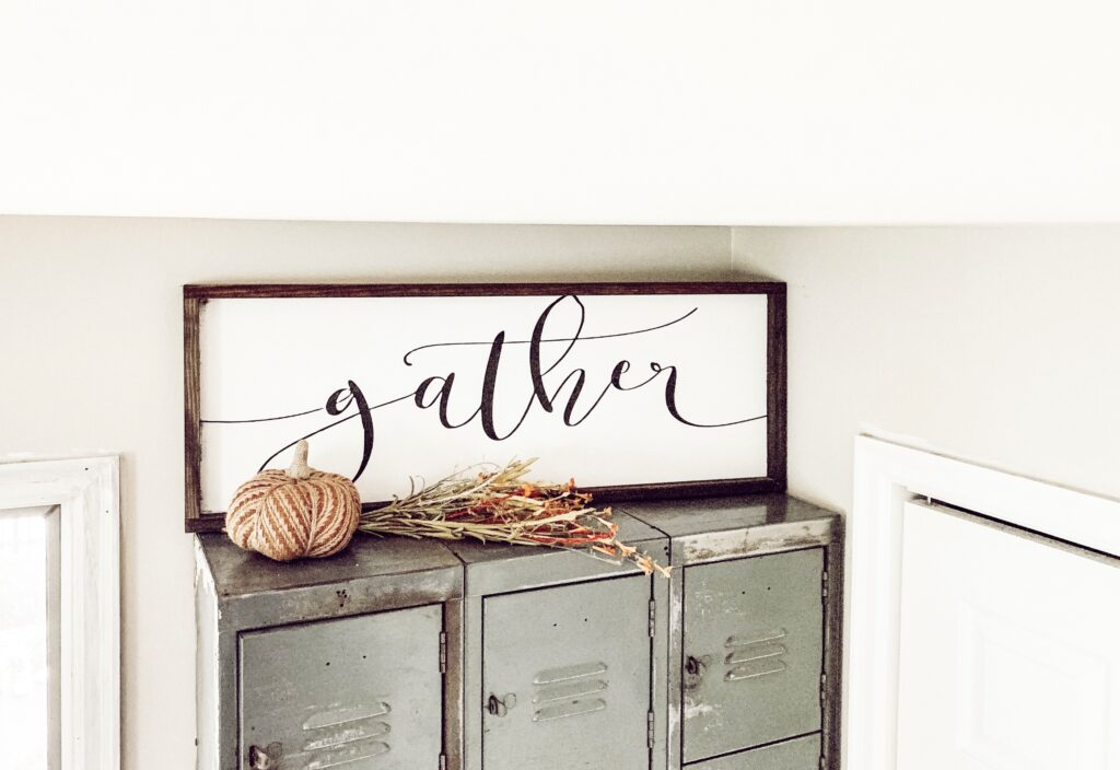gather sign with perfect fall decor