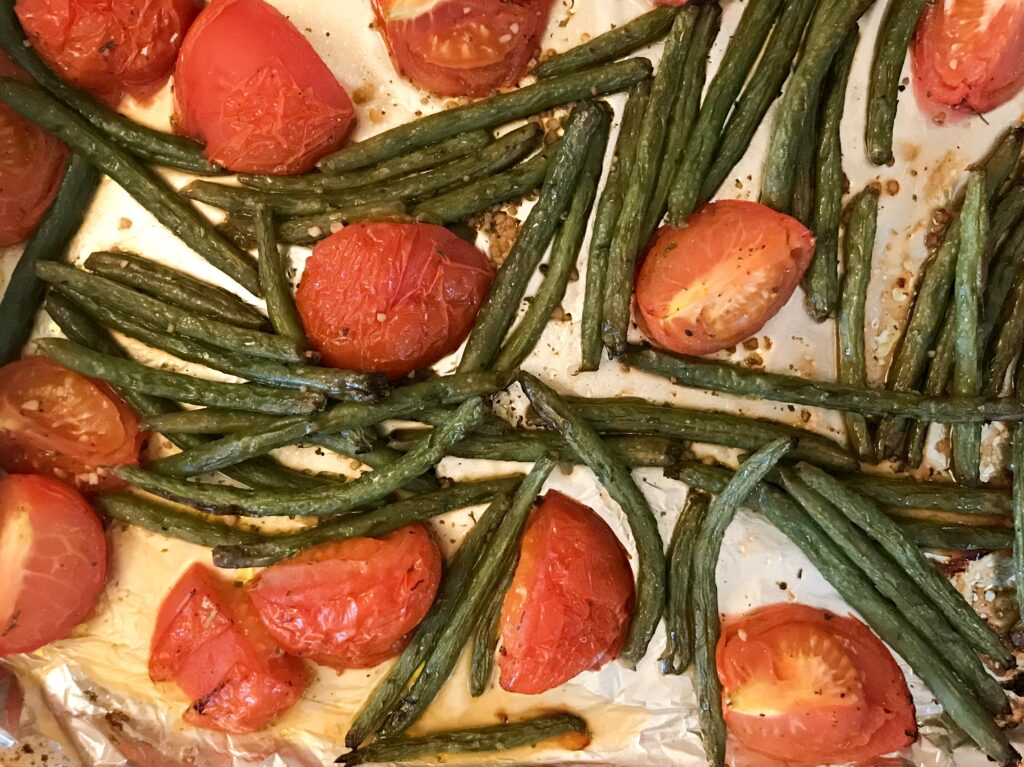 Roasted Tomatoes and Green Beans