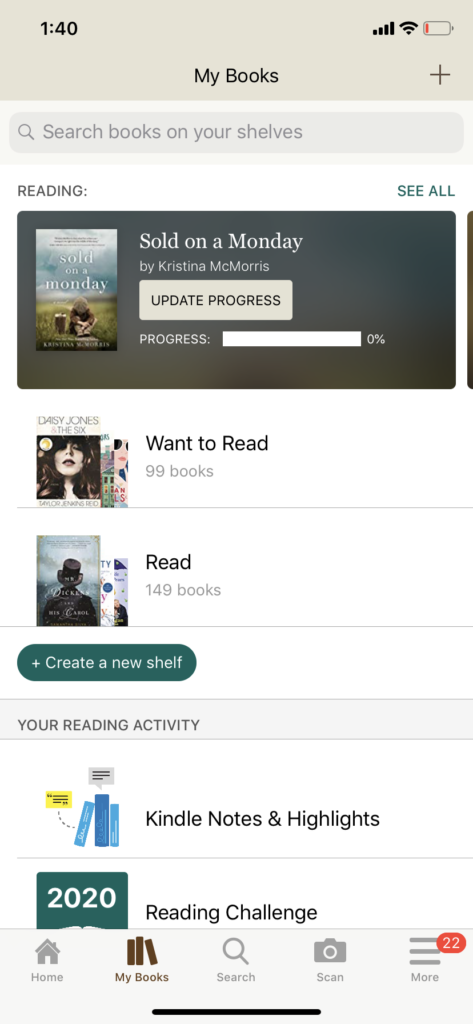 goodreads reading app