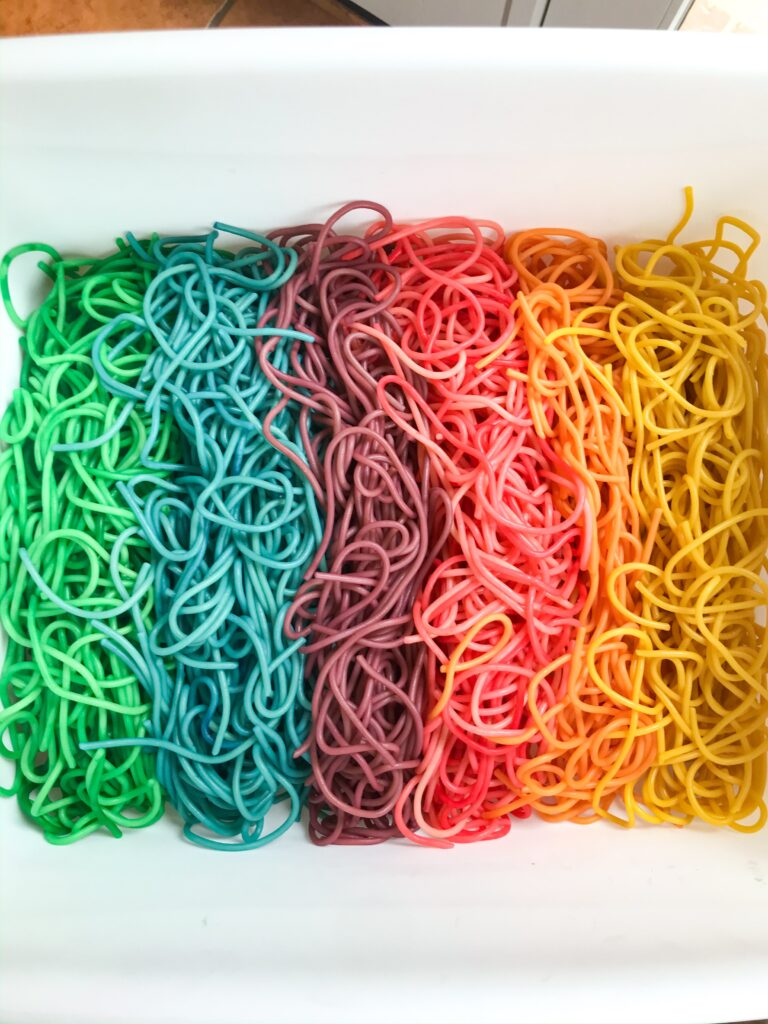 Rainbow Noodle Sensory Play