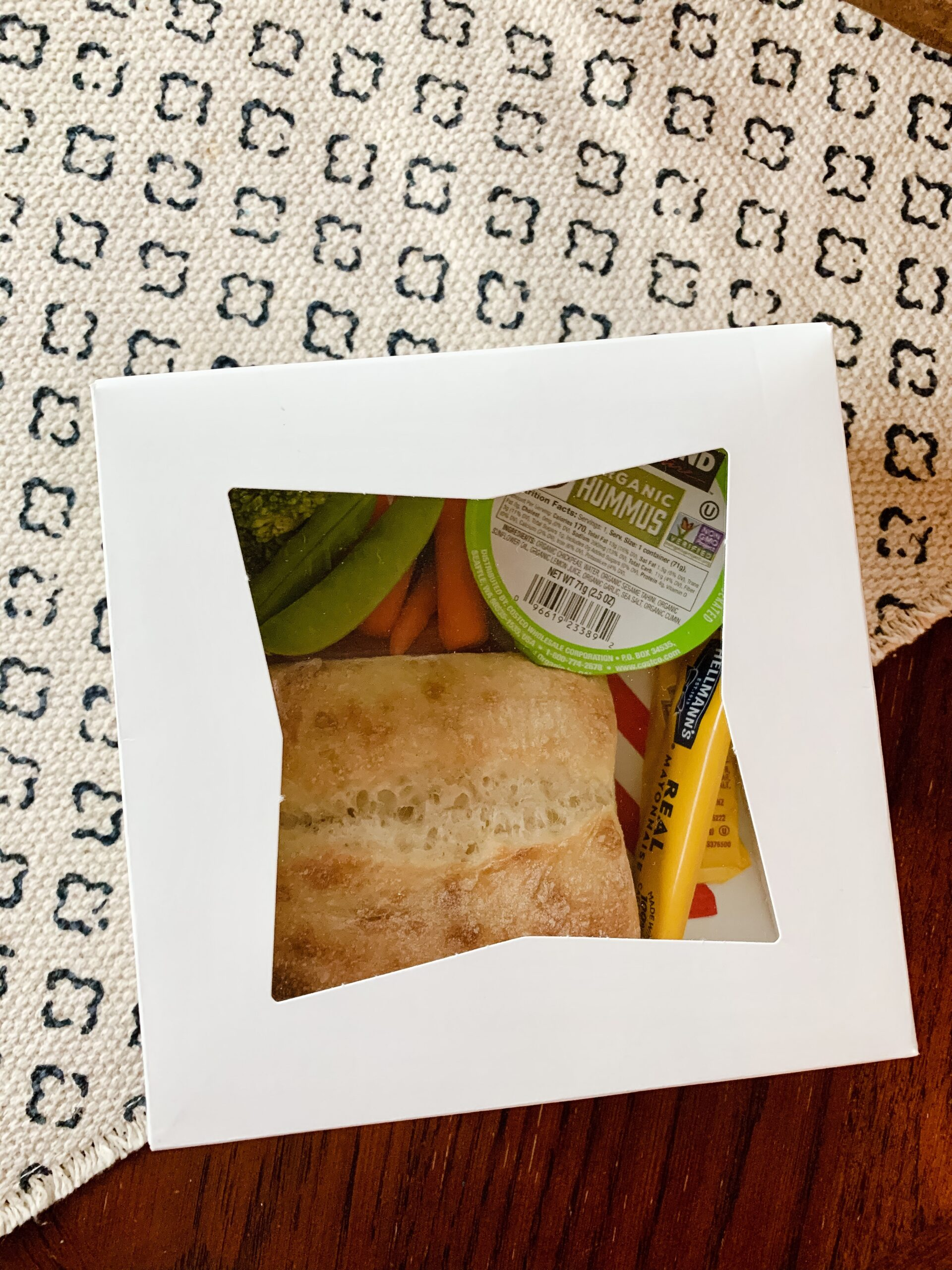 individual COVID friendly sandwich and vegetables in box
