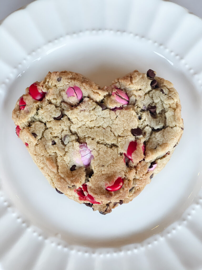 Heart-shaped M&M Chocolate Chip Cookies