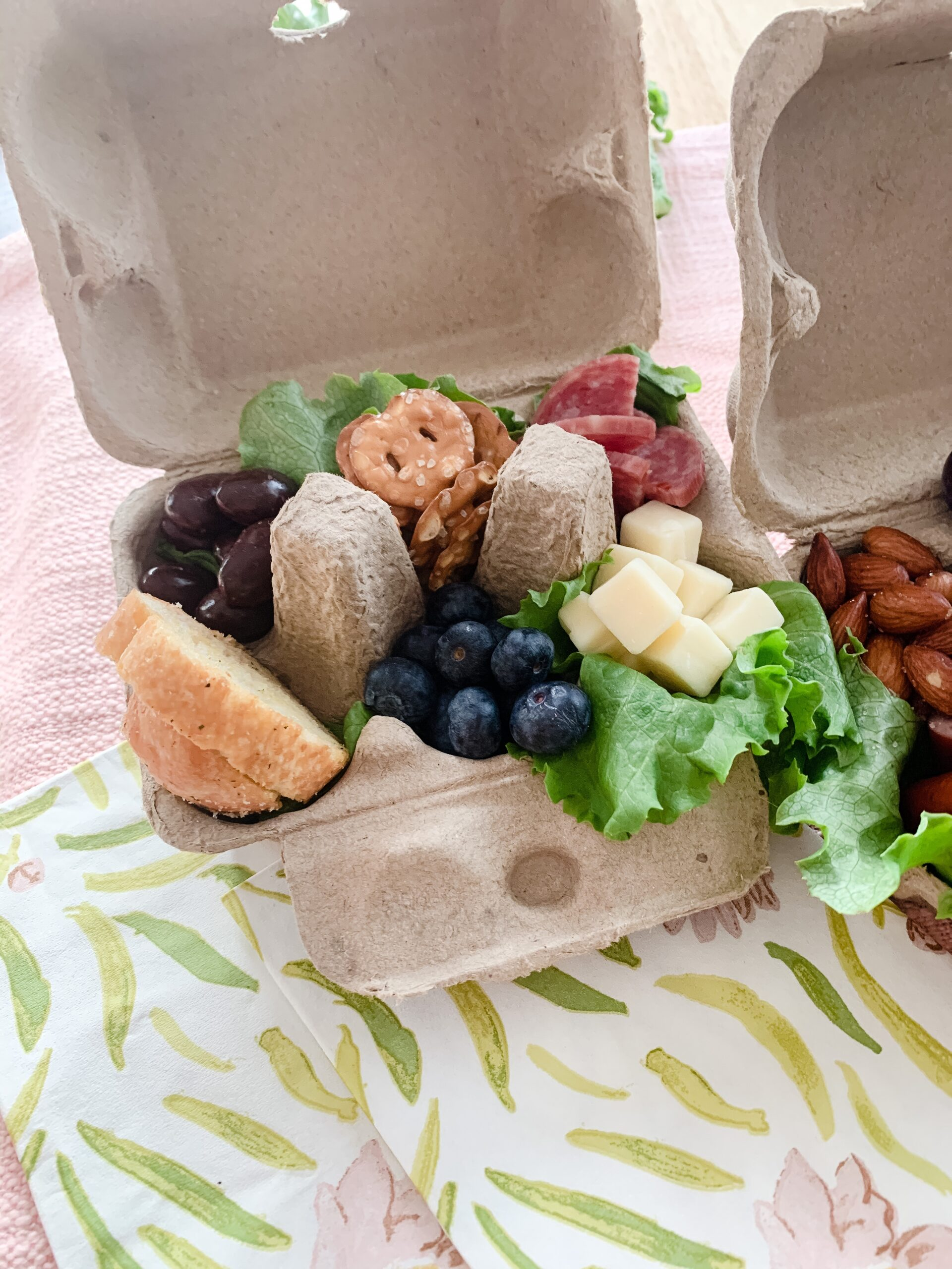 easy Easter appetizer - egg carton charcuterie